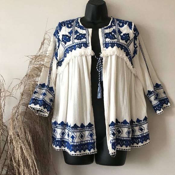 Zara Trafaluc Embroidered Swing Jacket